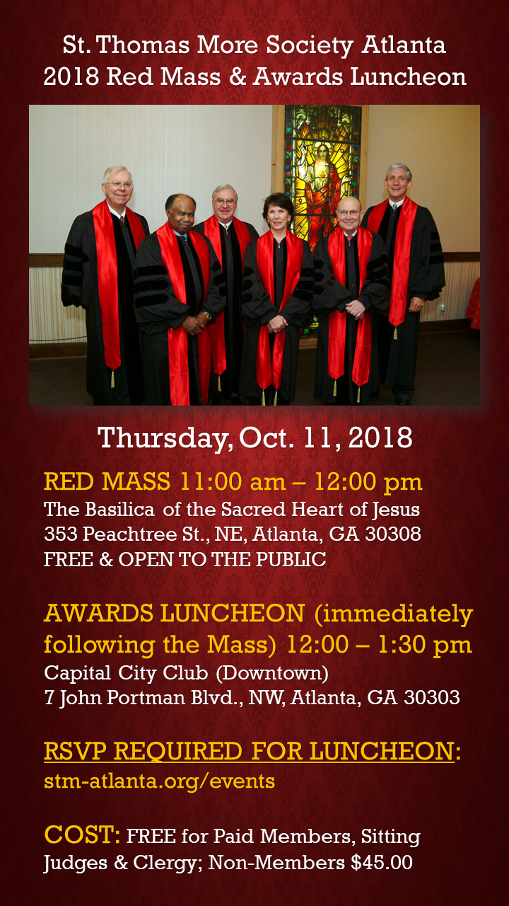 St  Thomas More Society, Inc  - The 2018 Red Mass & Awards